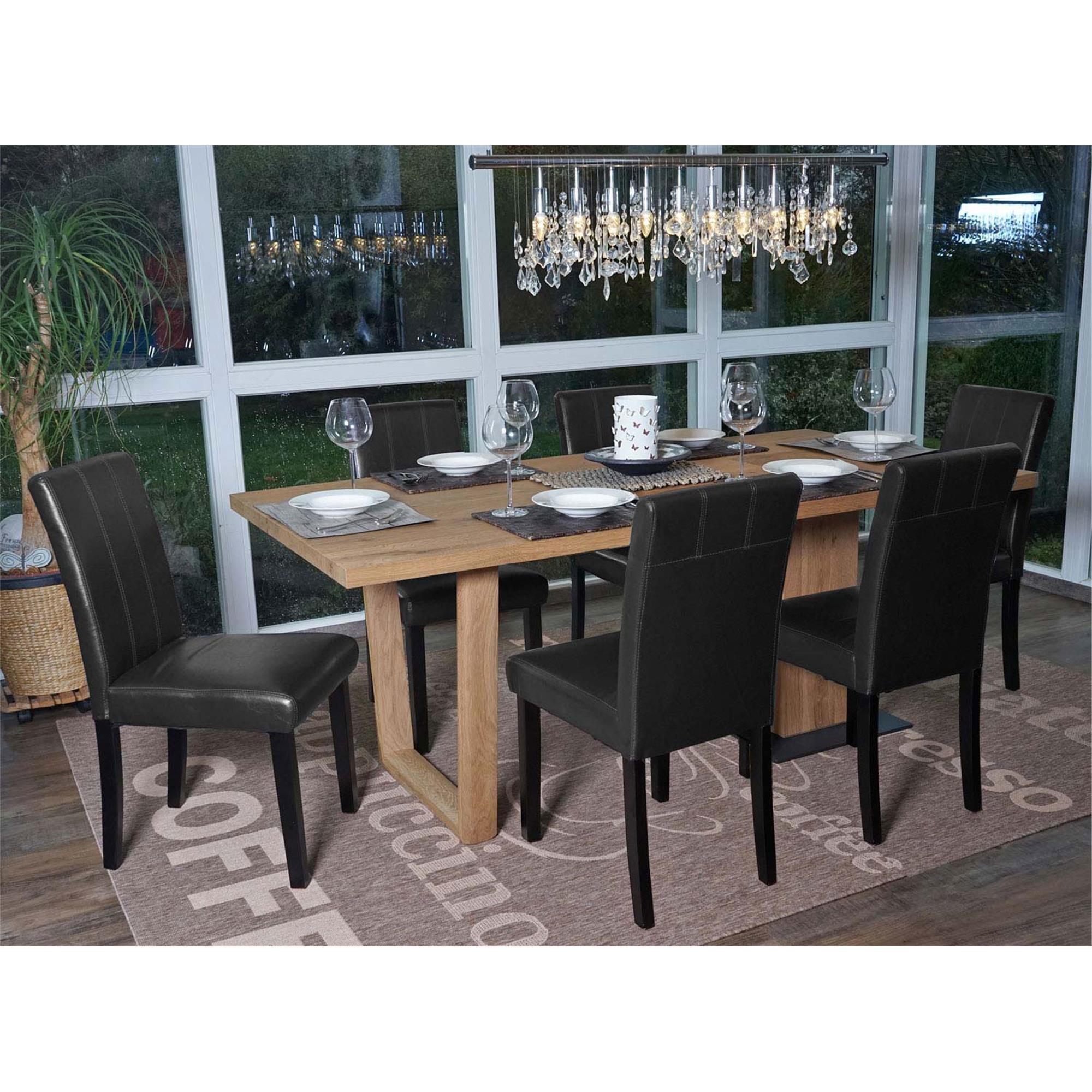 Lote 6 sillas comedor toper en piel negra con costuras for Sillas de comedor de piel