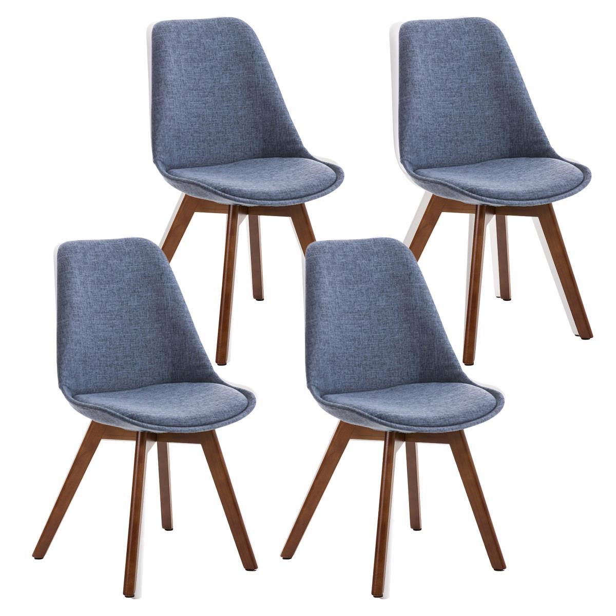 Conjunto de 4 sillas de comedor loren tela color azul y - Tela para sillas de comedor ...