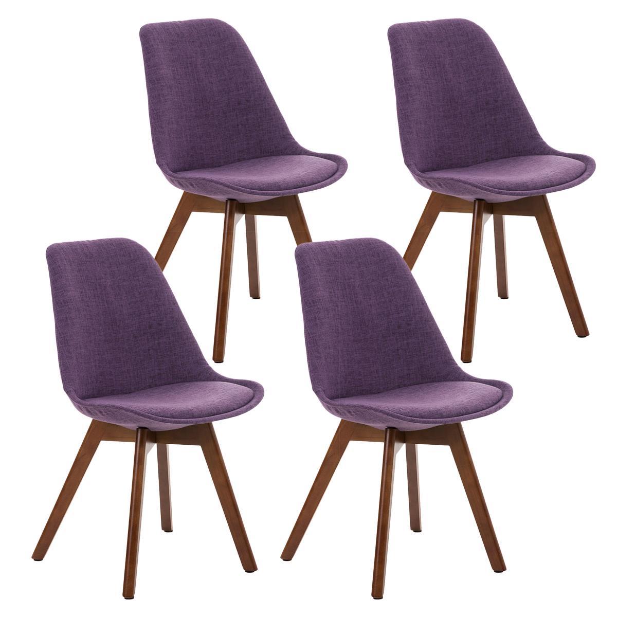 Conjunto de 4 sillas de comedor loren tela color morado y for Sillas de tela comedor