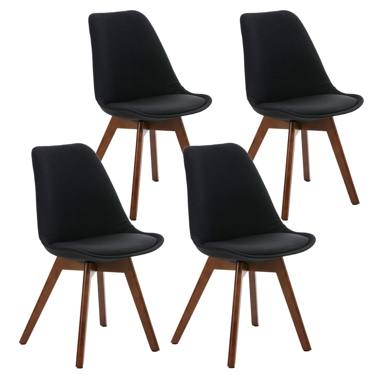 Conjunto de 4 sillas de comedor loren tela color negro y for Sillas de tela comedor