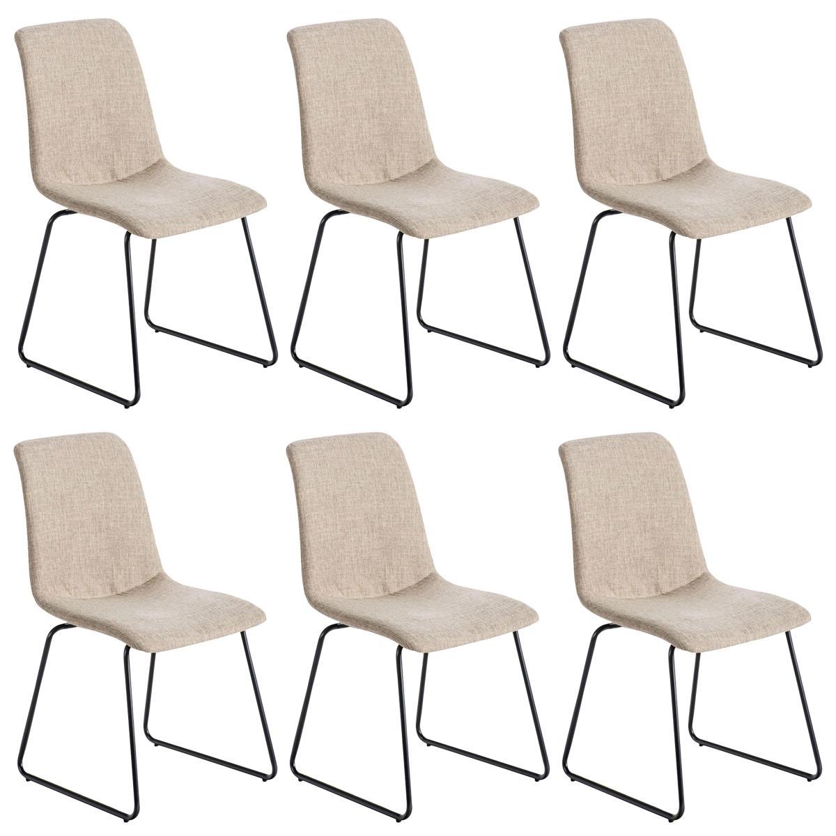 Conjunto de 6 sillas de comedor marina color crema y for Sillas comedor patas metalicas