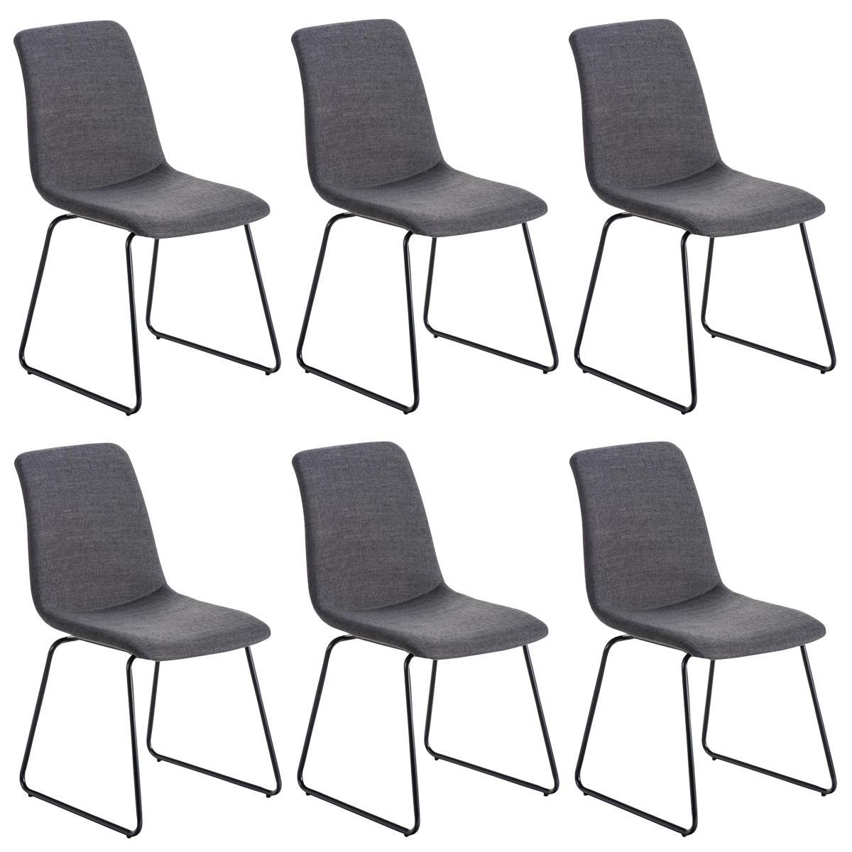 Conjunto de 6 sillas de comedor marina color gris claro y for Sillas comedor patas metalicas