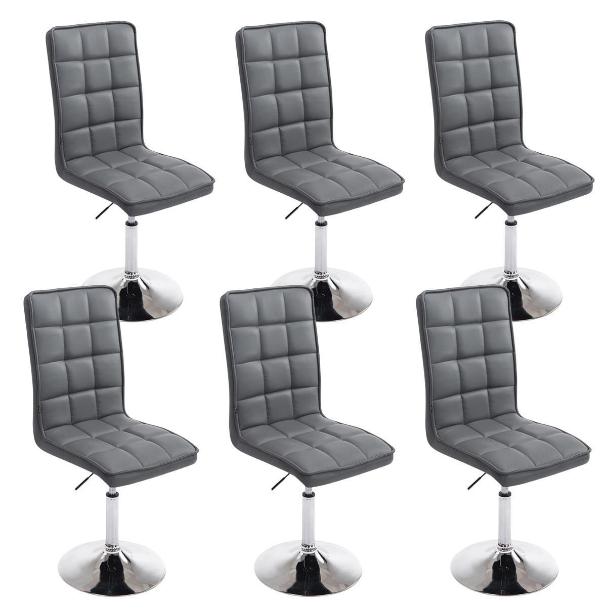 Conjunto de 6 sillas de comedor o cocina osuna piel en for Sillas de comedor color gris
