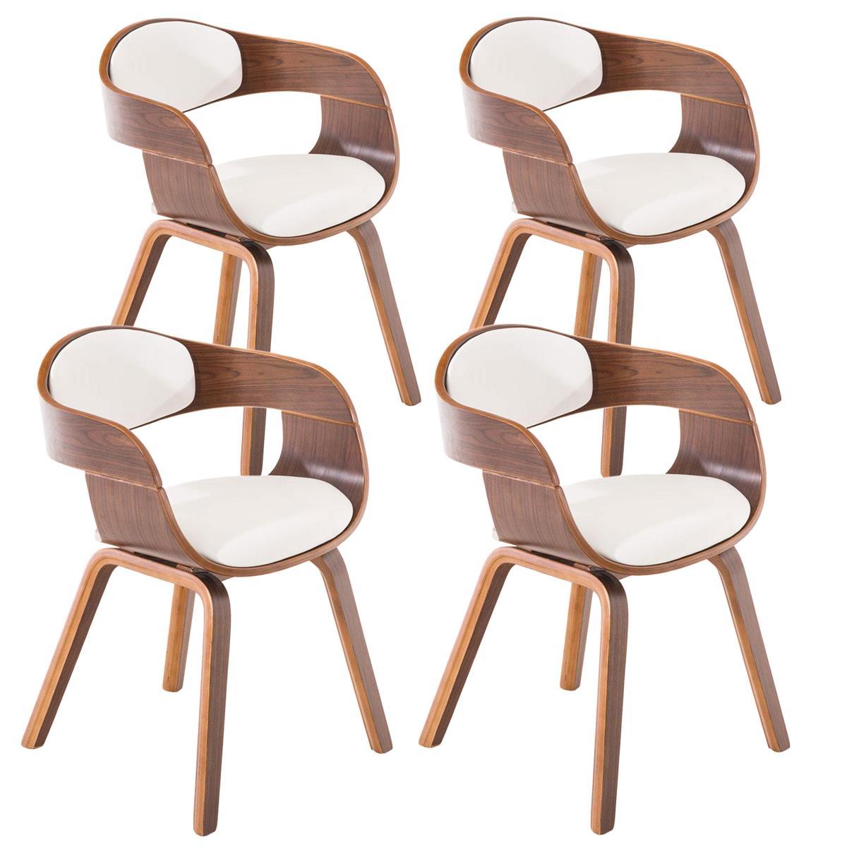 Conjunto de 4 sillas de comedor mafo tapizadas en piel for Sillas de comedor de piel