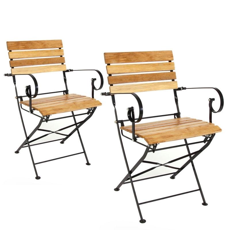 Lote 2 sillas de jard n plegables m90 en madera natural estructura met lica con reposabrazos - Sillas con reposabrazos ...