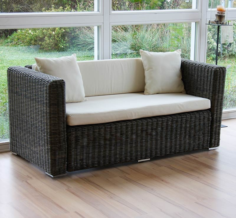 Sofa rattan parma resistente al agua y sol reforzado en for Muebles terraza rattan