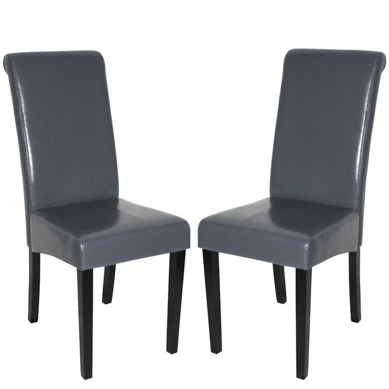 Lote 2 sillas de comedor novara ii gris patas oscuras for Sillas cuero comedor