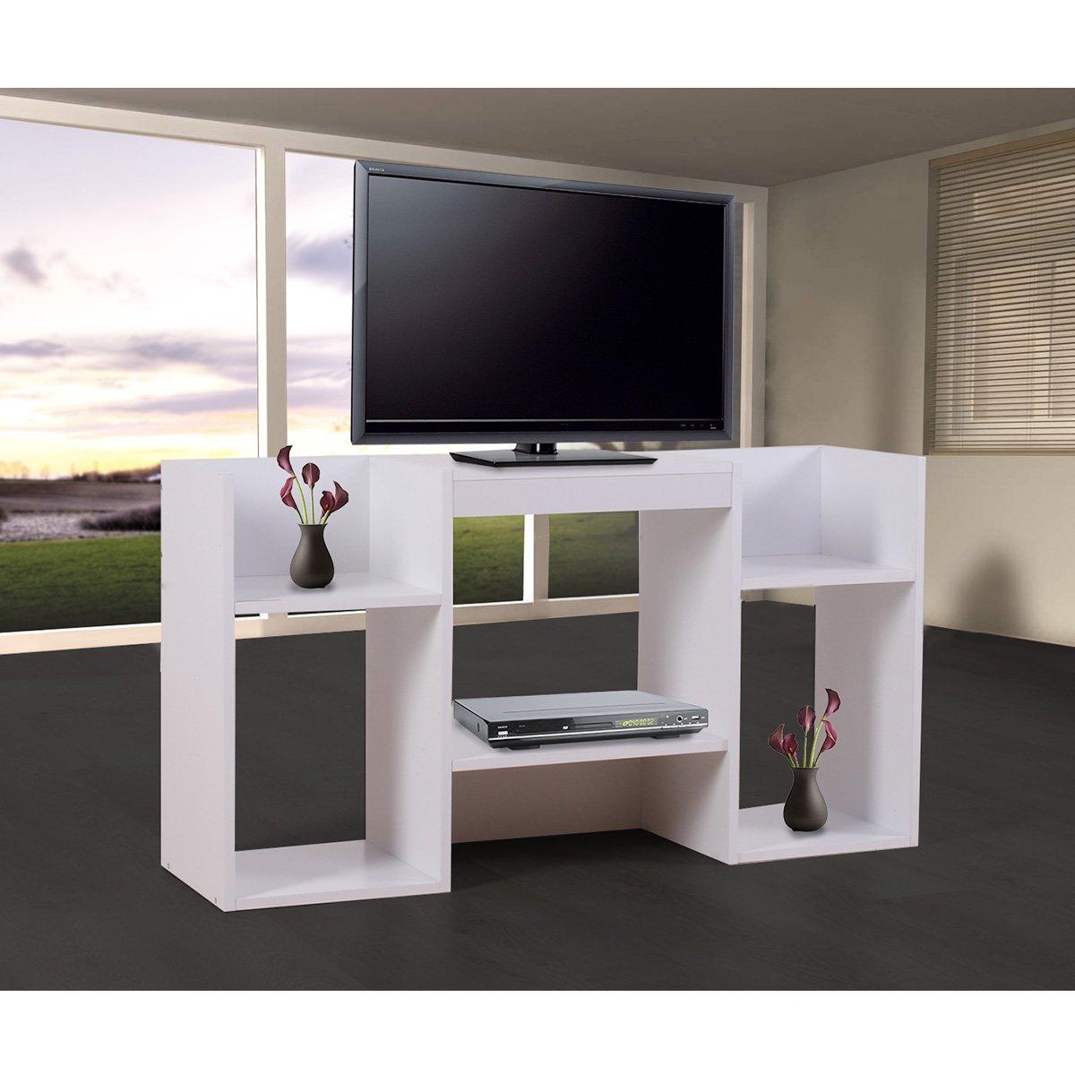 Mueble para tv soporte para tv de dise o 109x59x30 cm blanca - Soporte para television ...