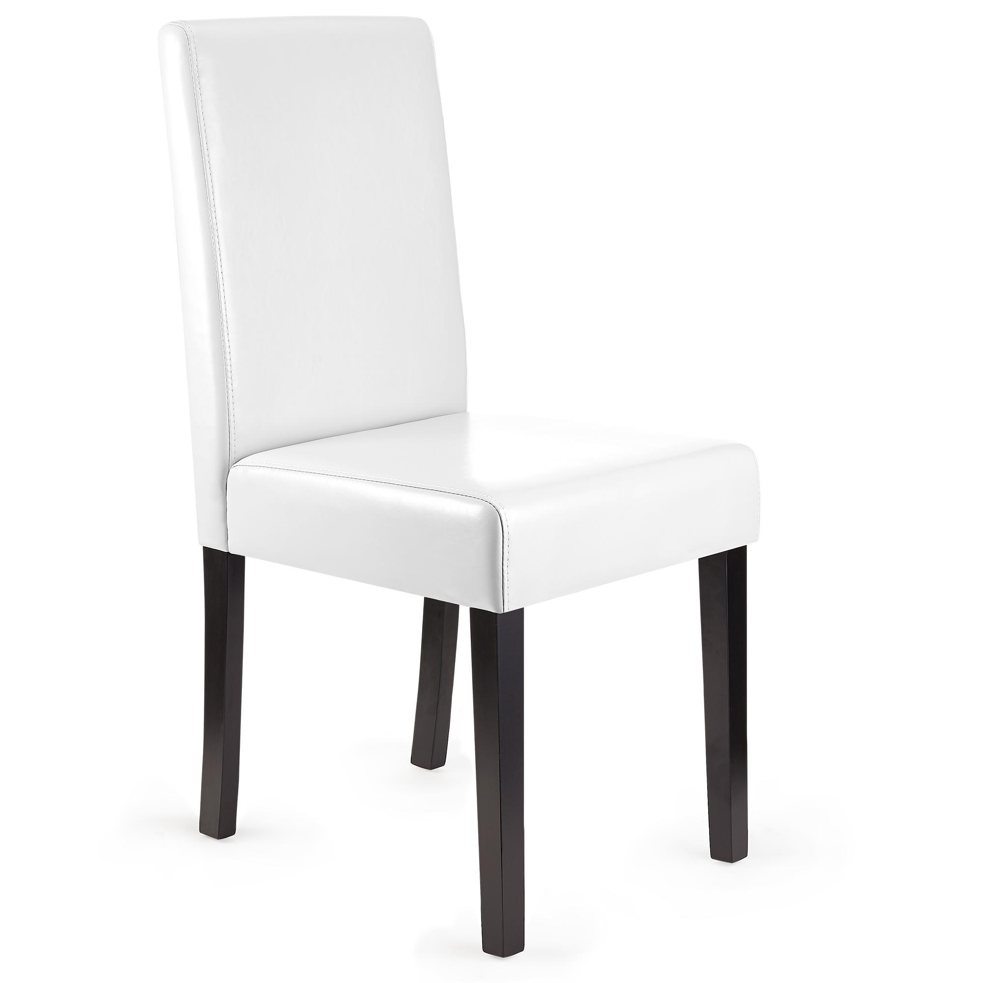 lote sillas de comedor litau precioso diseo piel real blanca y patas oscuras
