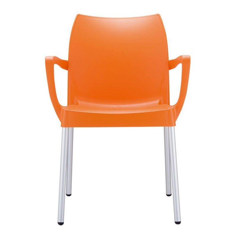 Silla de jard n o terraza dolce apilable color naranja for Sillas tapizadas con reposabrazos