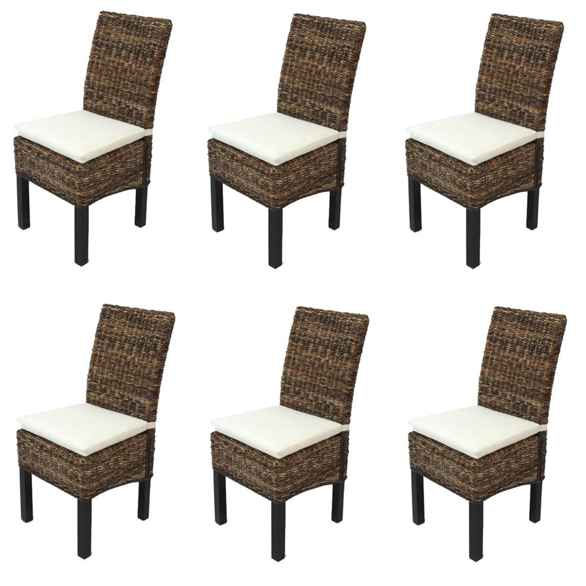 Lote 6 sillas de comedor sabana en mimbre y madera color for Comedor de madera 6 sillas