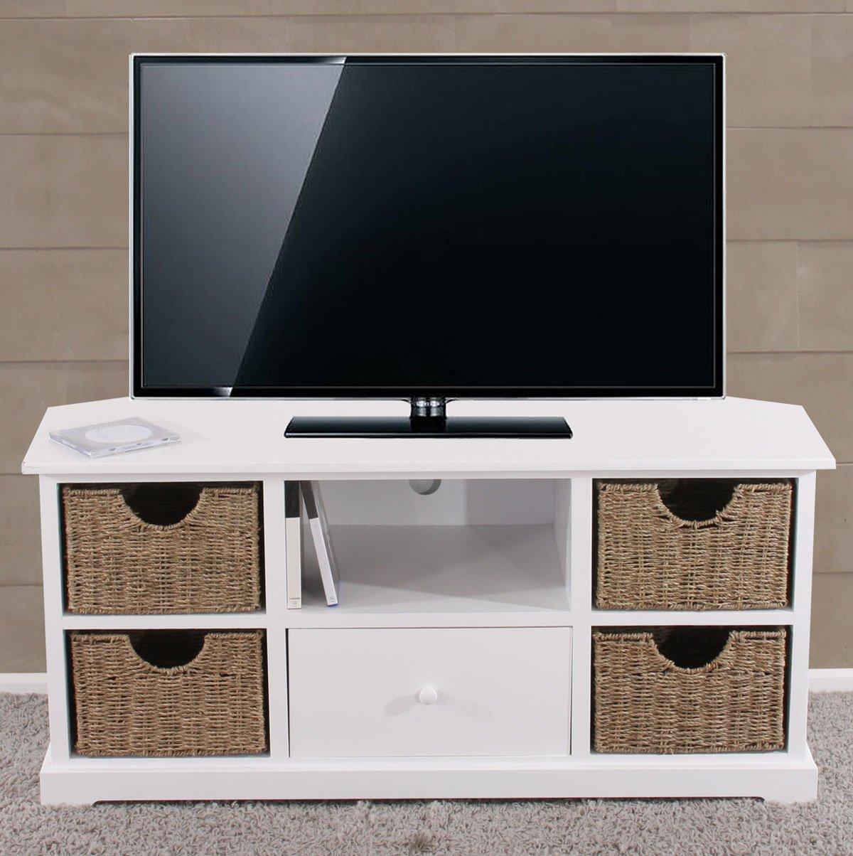 Mesa de tv con estanter as tv y cajones de mimbre - Cajones de mimbre ...