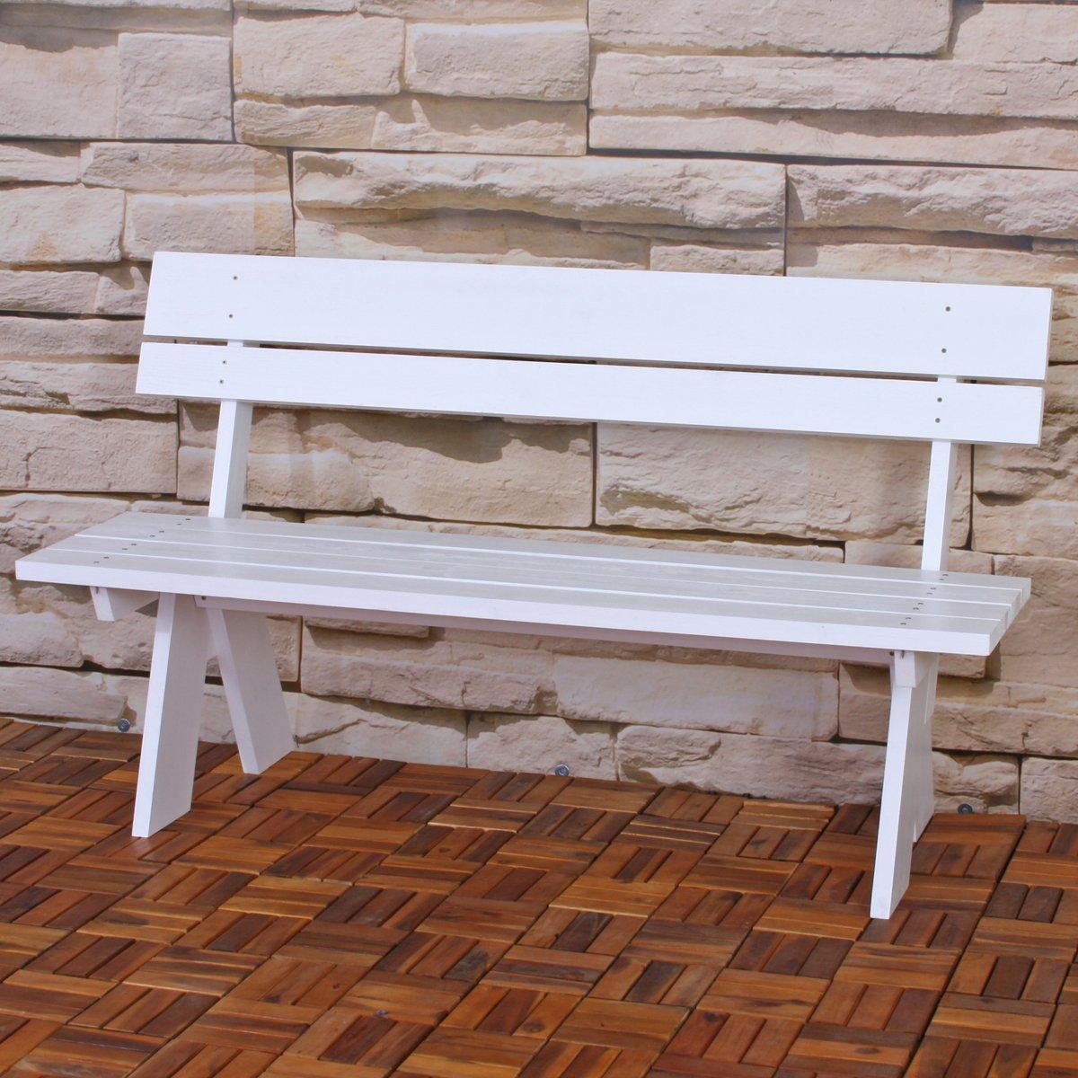 Banco de madera maciza para jard n oslo color blanco - Banco madera jardin ...