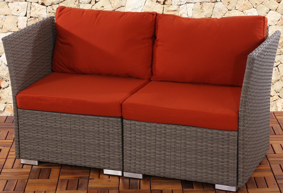 Sofa 2 plazas poly rattan siena modular estructura gris for Sofa modular gris