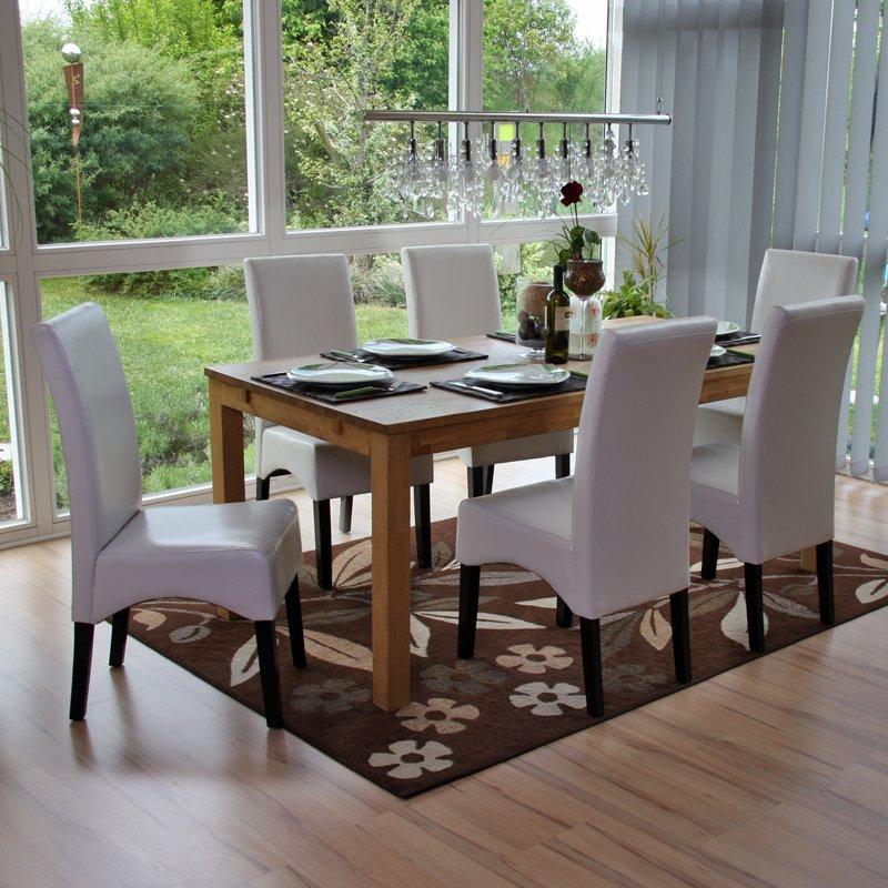 Lote 6 sillas de comedor latina en piel genuina blanco y for Sillas de comedor de piel