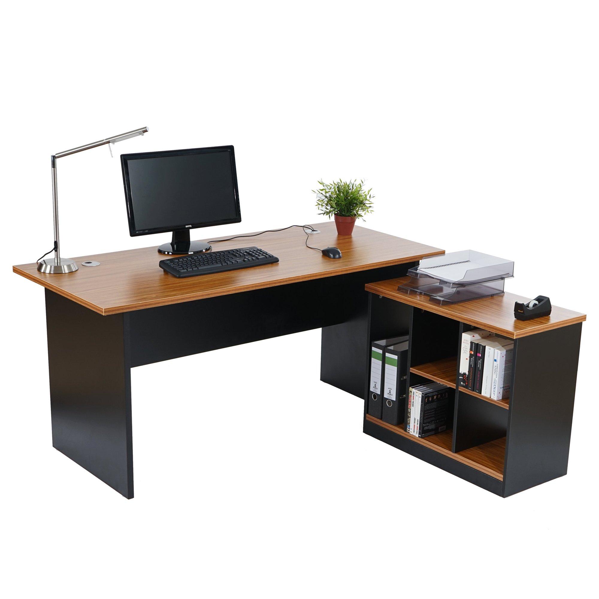 Escritorio de oficina en esqui a windsor color cerezo for Dimensiones escritorio oficina