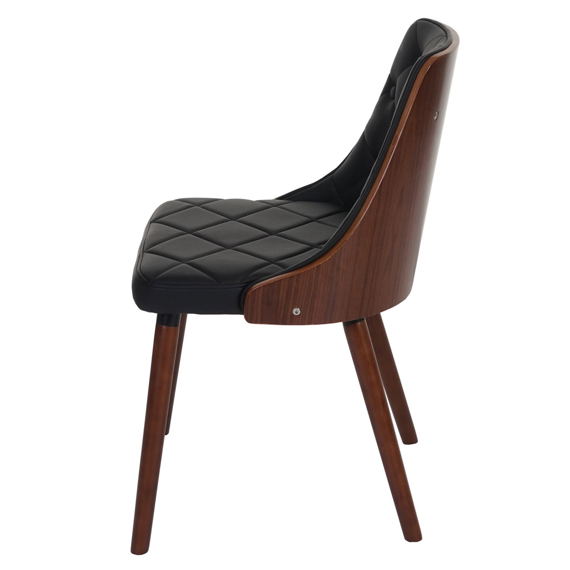 Lote 2 sillas de comedor baley en piel negro conjunto 2 for Sillas negras de madera