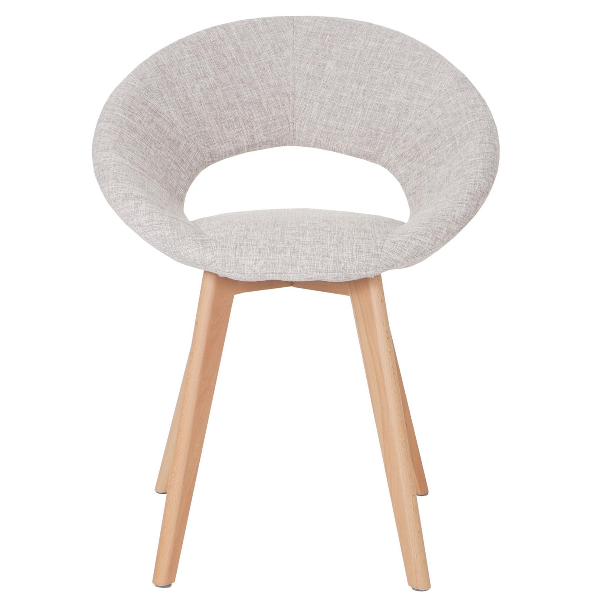 Silla de comedor vedri dise o retro en tela crema silla - Tela para sillas de comedor ...