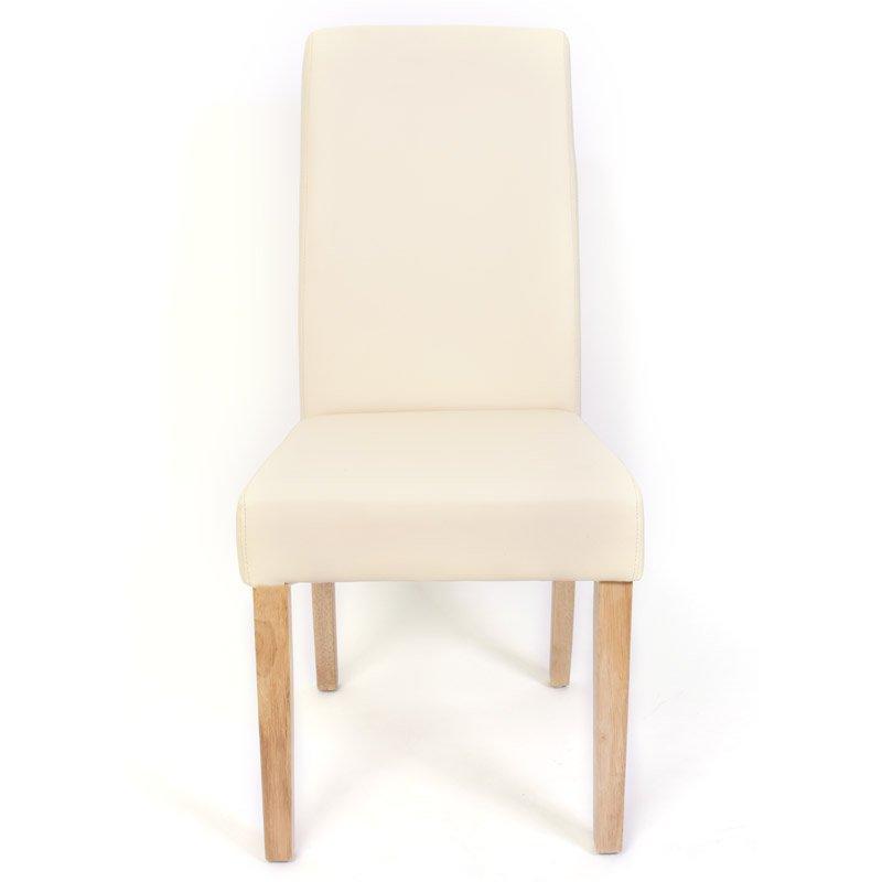 lote sillas de comedor turin gran estilo y calidad tapizadas en piel crema y patas madera claras