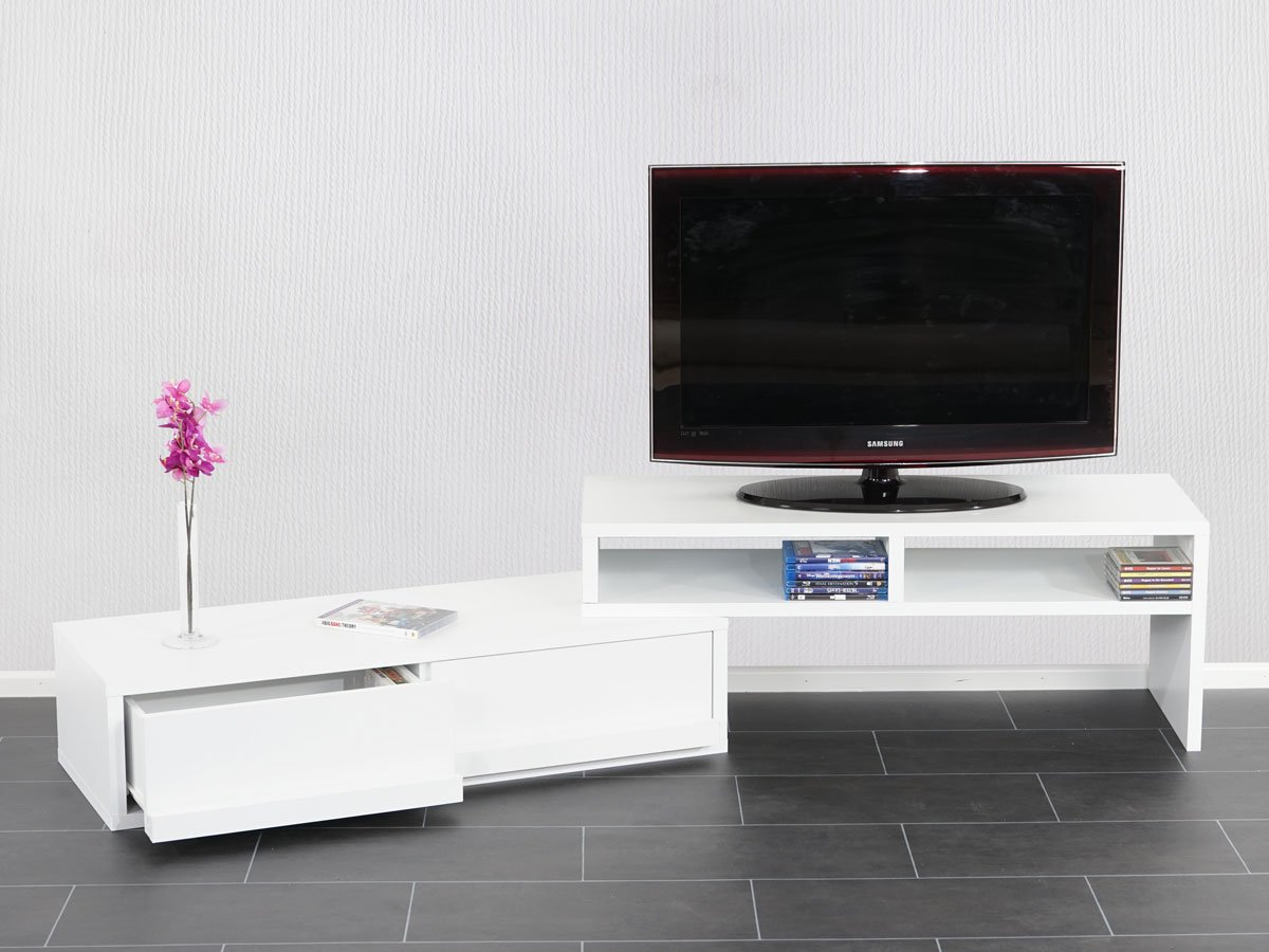 Mueble modular para tv con estantes extensible color for Mueble modular blanco