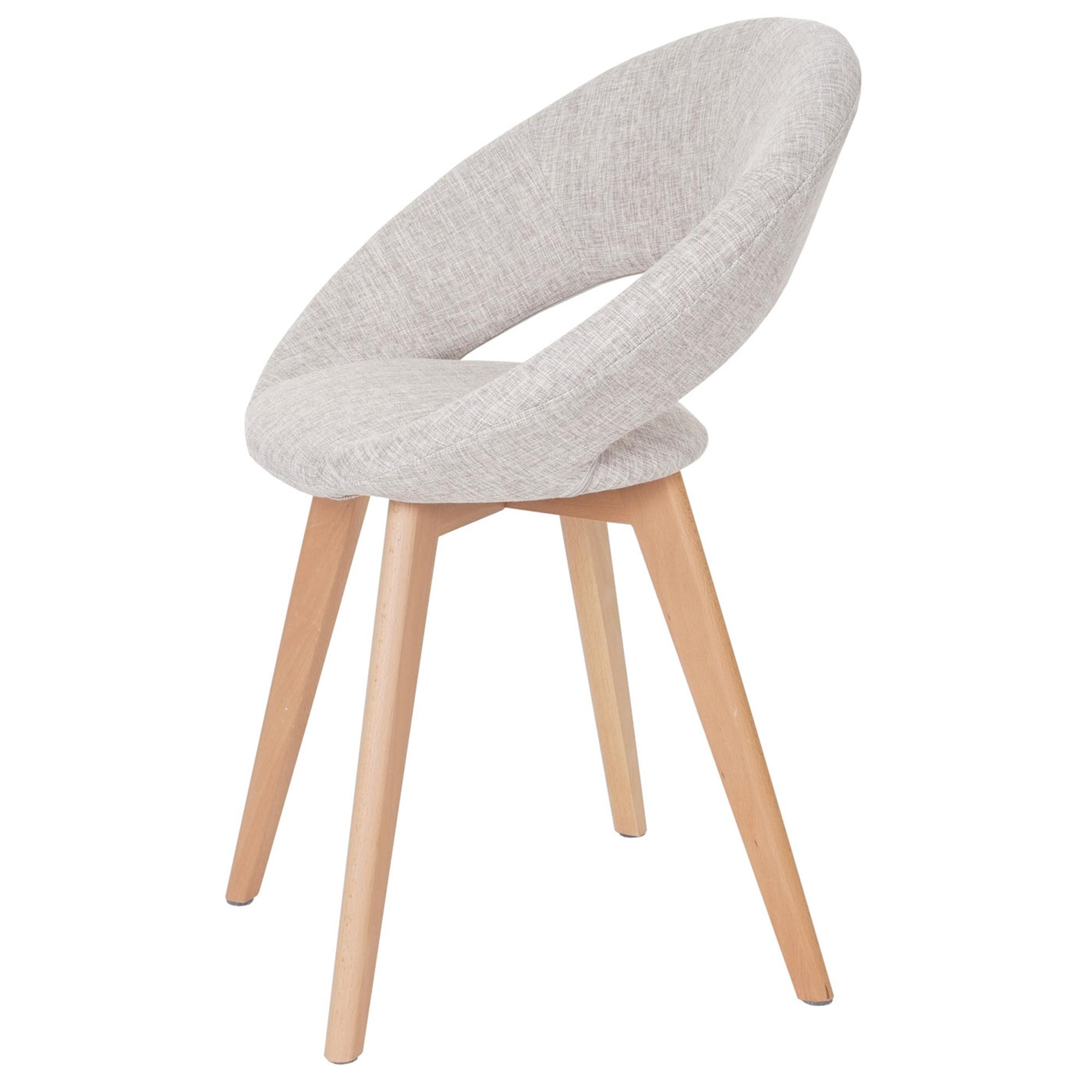 Silla de comedor vedri dise o retro en tela crema silla for Sillas para comedor tapizadas en tela