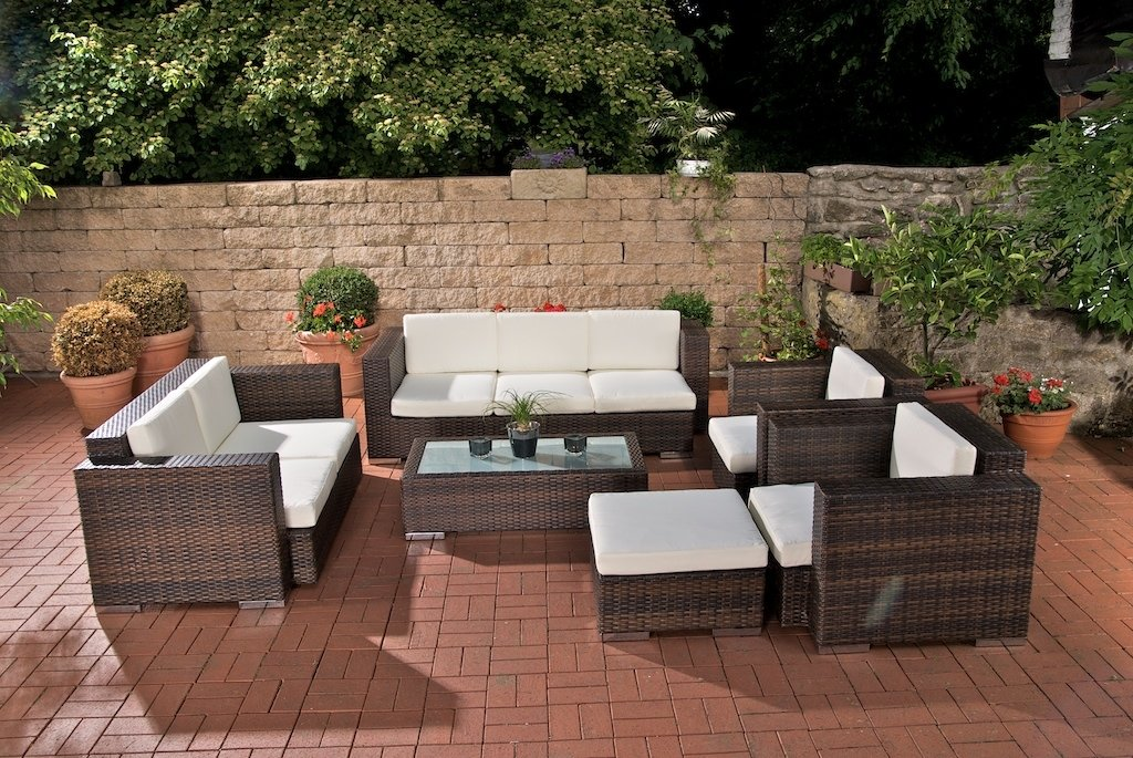 Sof muebles de jard n provence gris mimbre sof - Muebles de mimbre para jardin ...