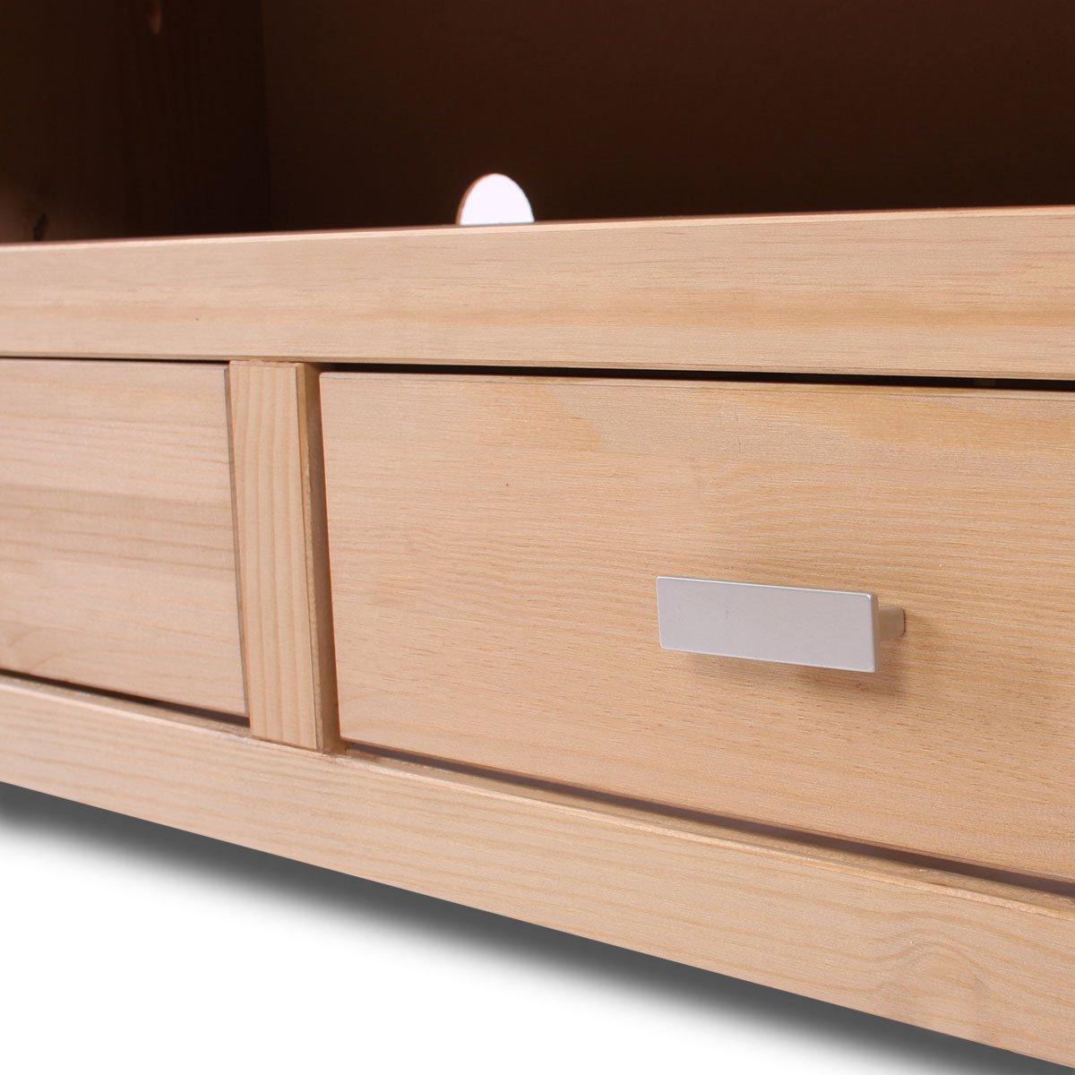 Mesa axuliar soporte tv en madera maciza 110x45x39 cm for Soporte mesa tv samsung