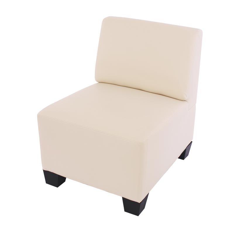 Sofa Modular Lyon En 4 Piezas 1 Sofa Individual Gran Acolchado Tapizado En Piel Color Crema