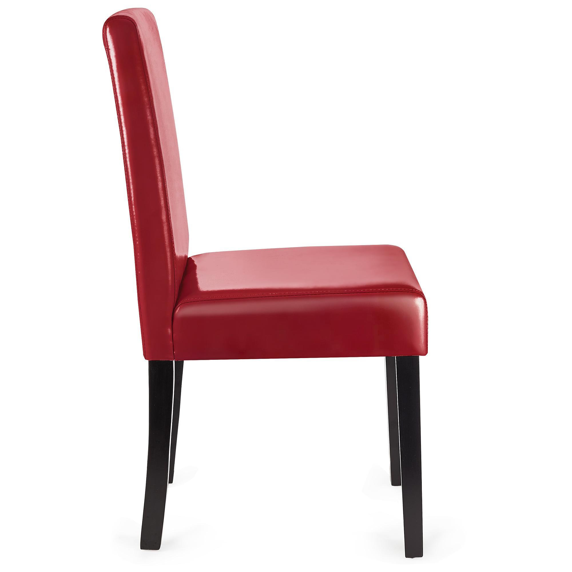 lote sillas de comedor litau piel real precioso diseo rojo y patas oscuras