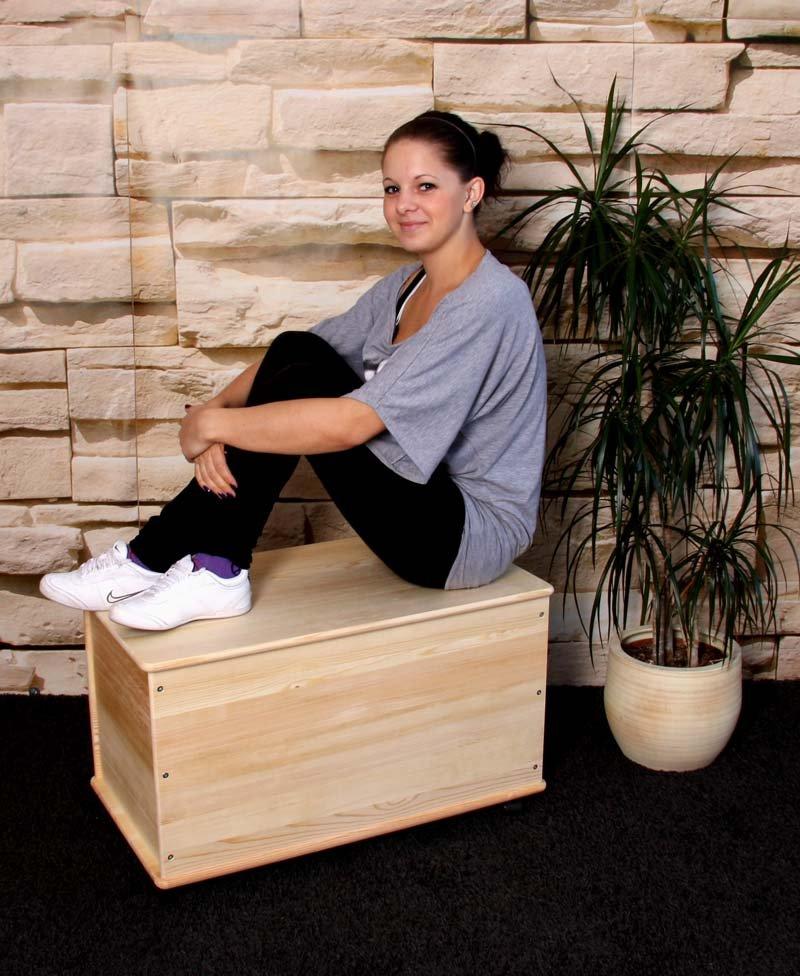 Ba l para la ropa en madera de pino natural 73 cm cesta - Baules para guardar ropa ...