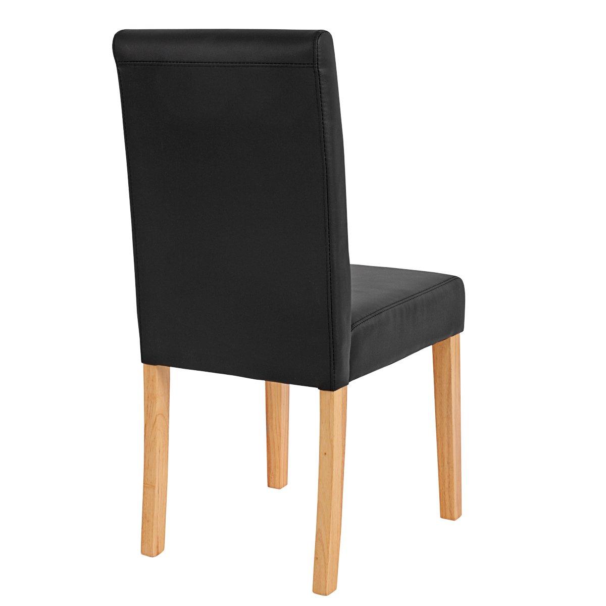 Conjunto 4 sillas de comedor litau en piel mate negra for Sillas de comedor tapizadas en piel