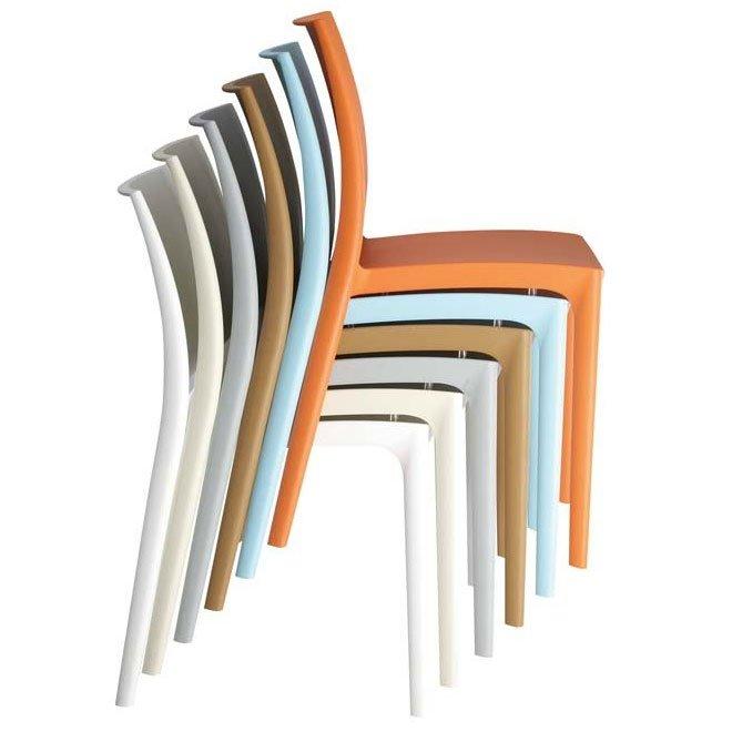 Silla de jard n apilable c44 en pl stico blanco silla - Sillas de jardin de plastico ...