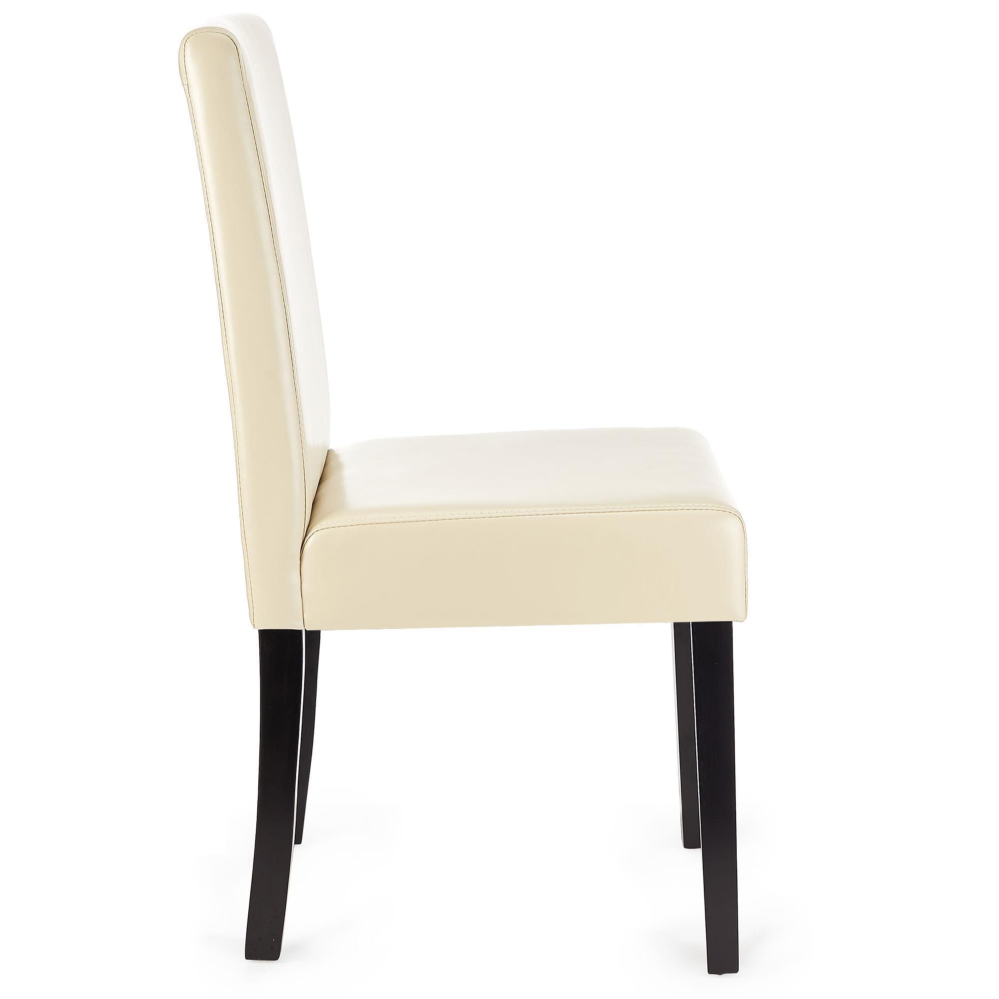 Lote 6 sillas m01 madera y polipiel crema patas oscuras for Sillas de cuero para comedor