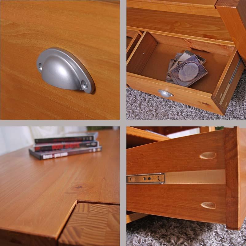 Mesa estante para tv lowboard en madera de pino macizo - Friso de pino barnizado ...