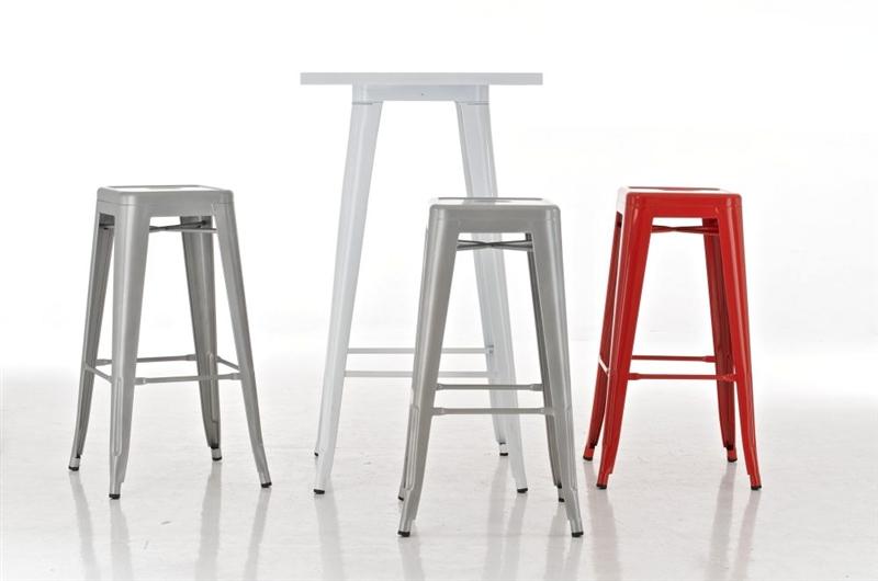 taburete para bar o cocina celia muy resistente modelo apilable en metal color blanco