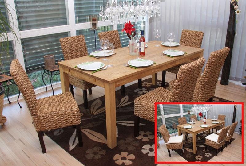 Lote 4 sillas de comedor o jard n m43 en madera y mimbre - Sillas y sillones de mimbre ...