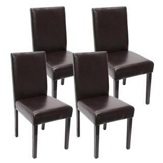 lote sillas de comedor litau piel genuina precioso diseo marrn patas oscuras