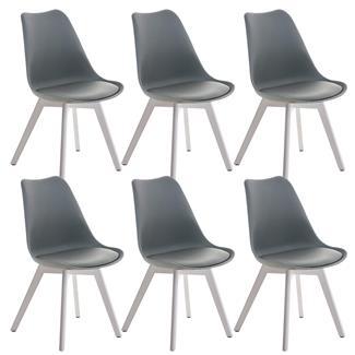 conjunto de sillas de comedor loren color gris y patas blancas