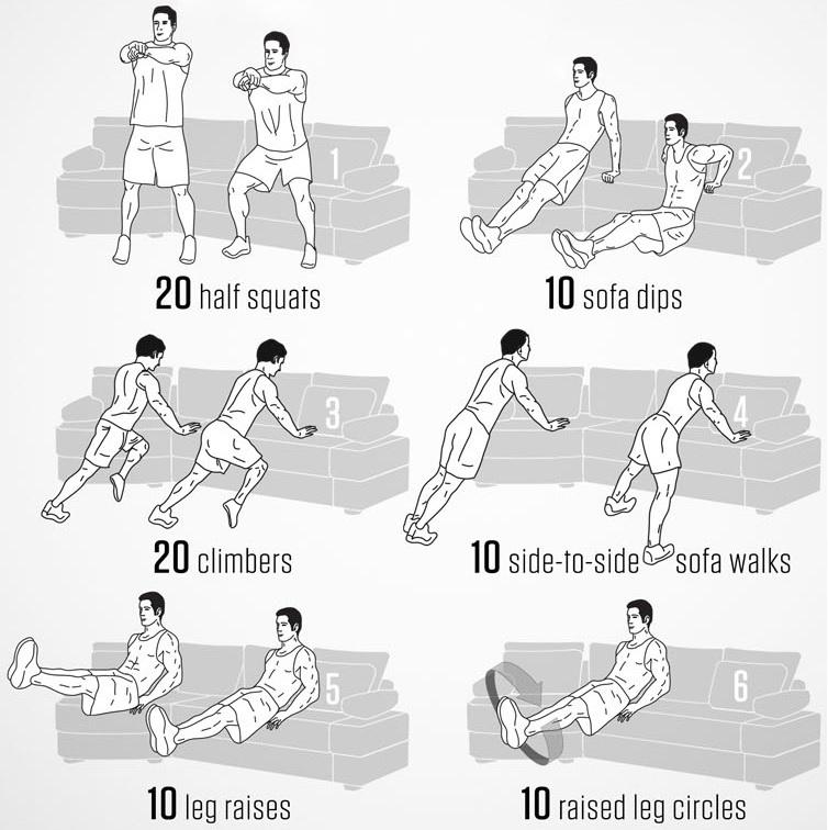 6 ejercicios de sof para hacer en casa On tabla de ejercicios para hacer en la piscina