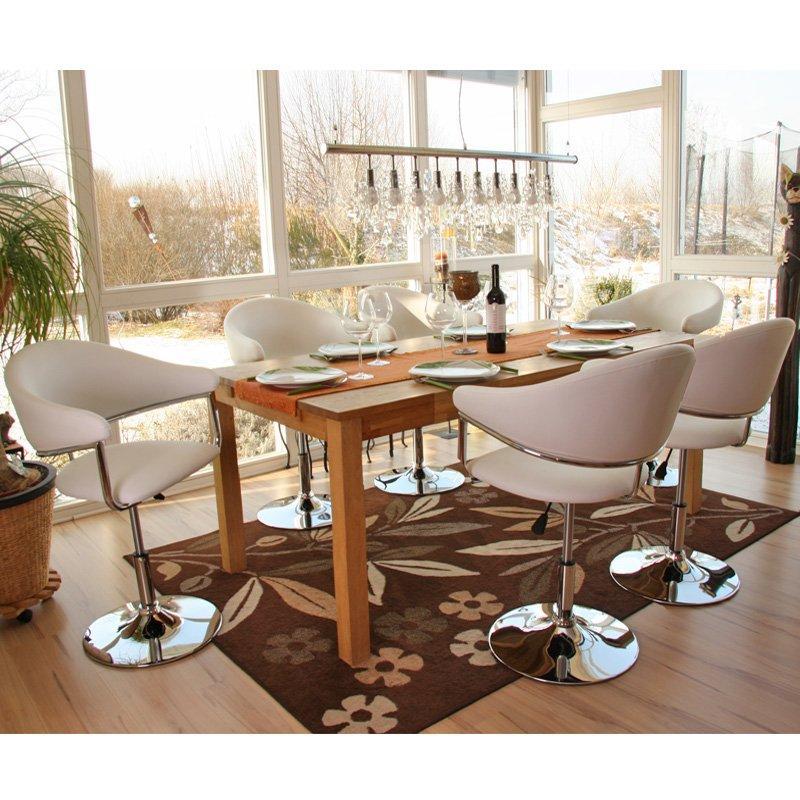 Lote 6 sillas de comedor como estructura met lica en polipiel color blanco - Sillas comedor polipiel ...