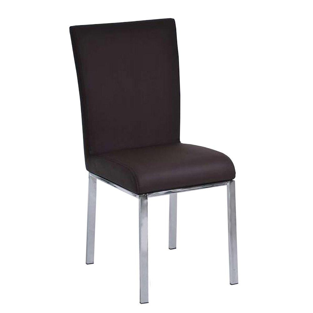Silla de comedor o cocina c08 en polipiel marr n silla for Sillas comedor marron