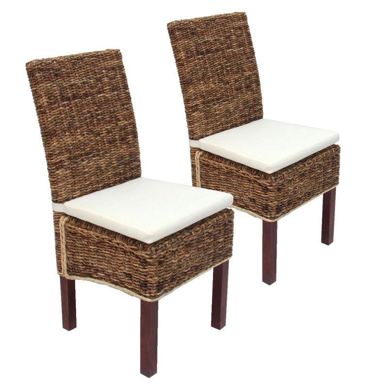 Lote 2 sillas de jard n m69 mimbre brillante almohada for Sillas mimbre comedor