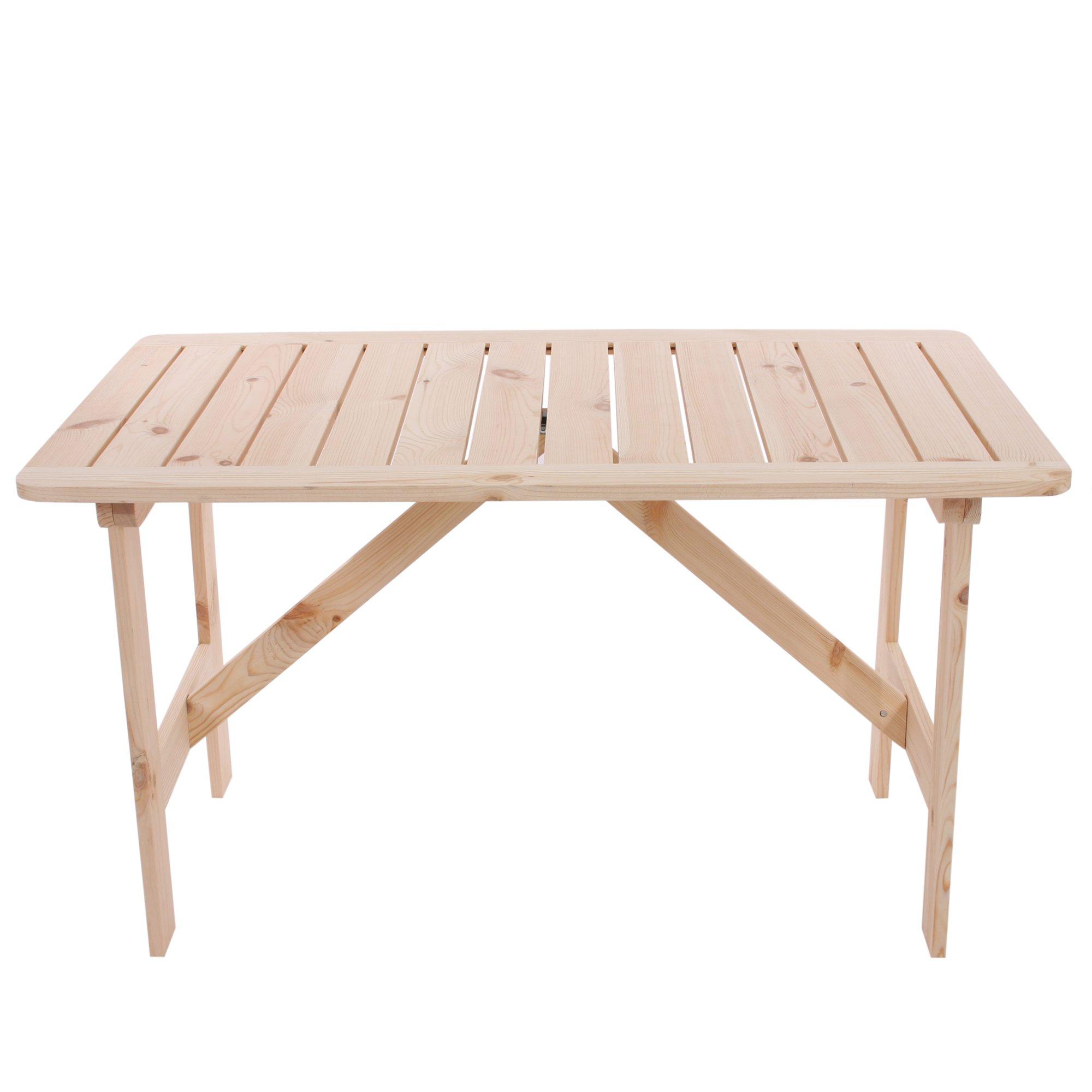 Mesa de jard n o terraza copenhaguen en madera 130 x 80 for Mobiliario de jardin de madera