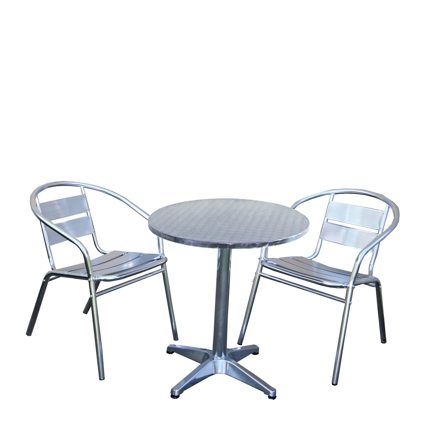 Conjunto de jard n apilable mesa 2 sillas en aluminio for Muebles jardin aluminio