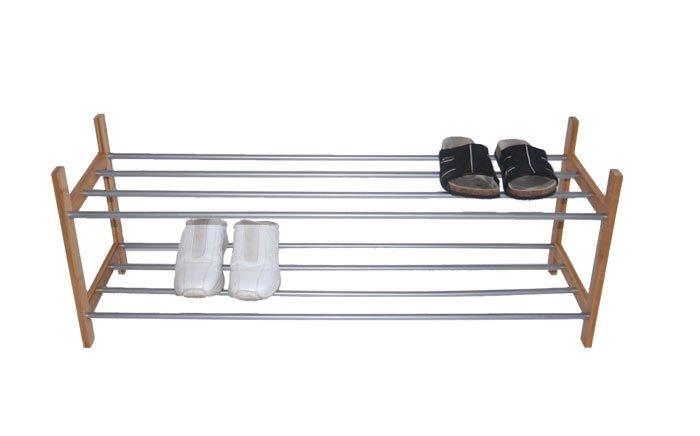 Zapatero Bamboo Con Estrucutura De Metal Dimensiones 100x30x37cm