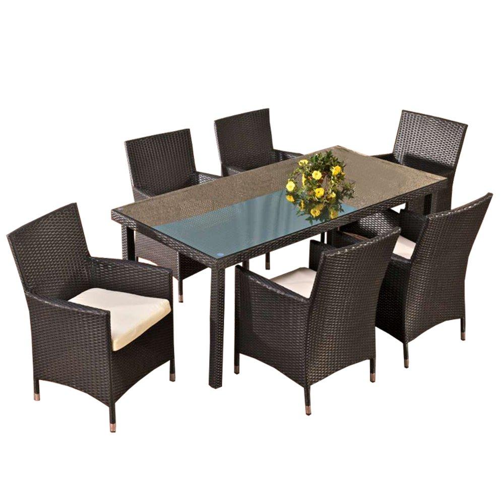 Conjunto de jard n florencia mesa 6 sillas poly rat n for Muebles de jardin de ratan