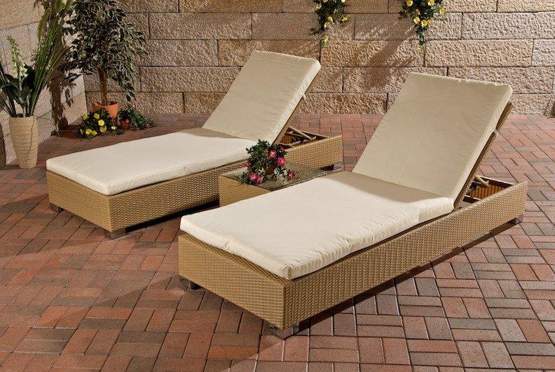 Lote 2 hamacas reclinables para terraza 1 mesa auxiliar - Hamacas para terraza ...