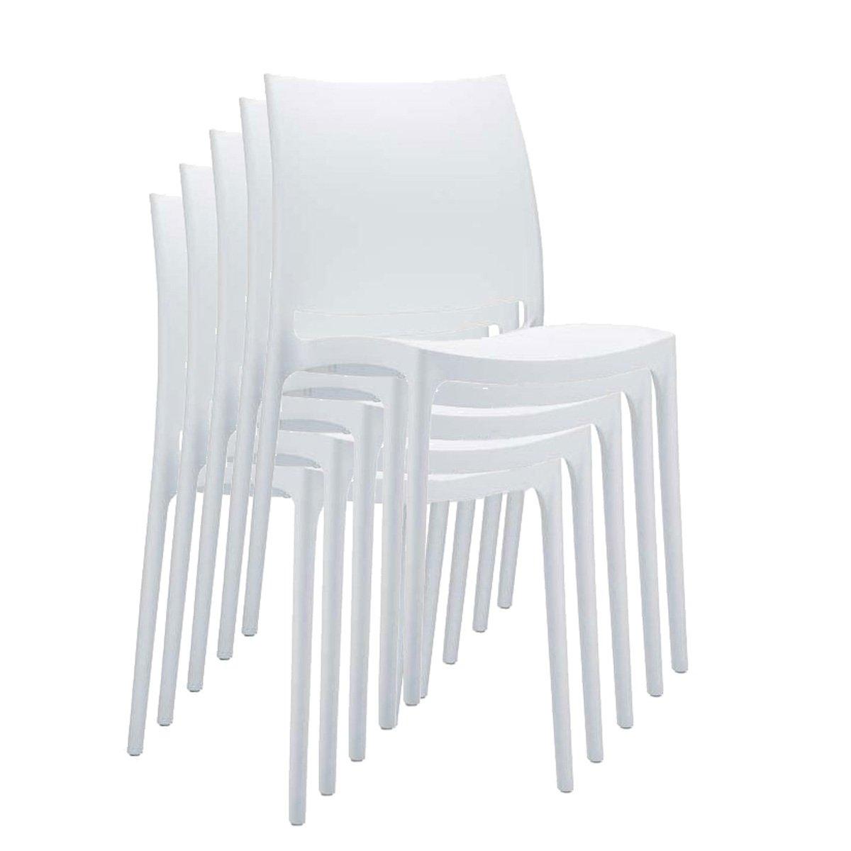Silla de jard n apilable c44 en pl stico blanco silla for Sillas de jardin de plastico