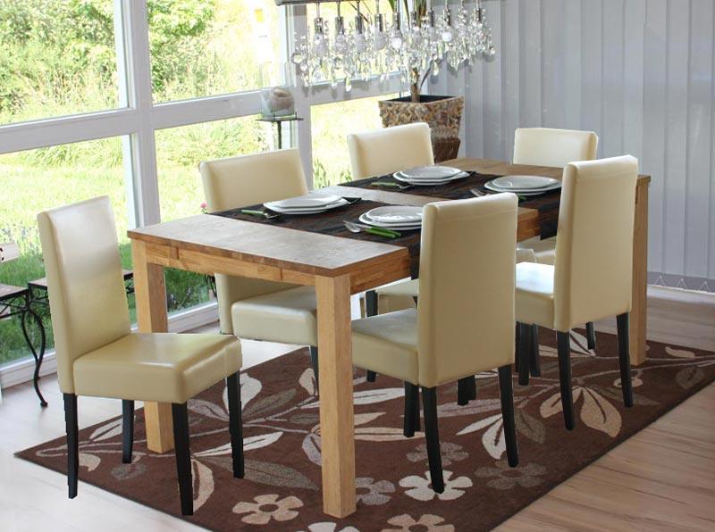 Lote 6 sillas m01 madera y polipiel crema patas oscuras for Sillas comedor rebajas