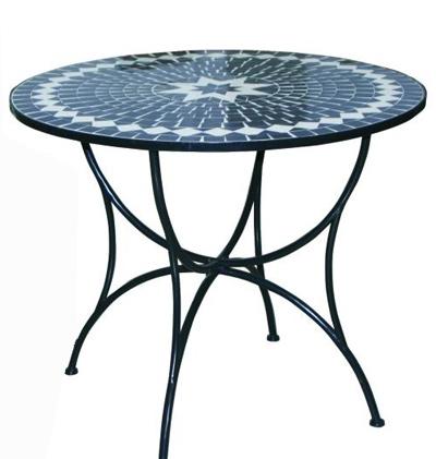 Mesa de jard n o terraza mosaico en color azul oscuro for Mesa mosaico jardin
